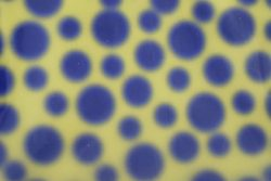 Printed PVC with holographic polka dots